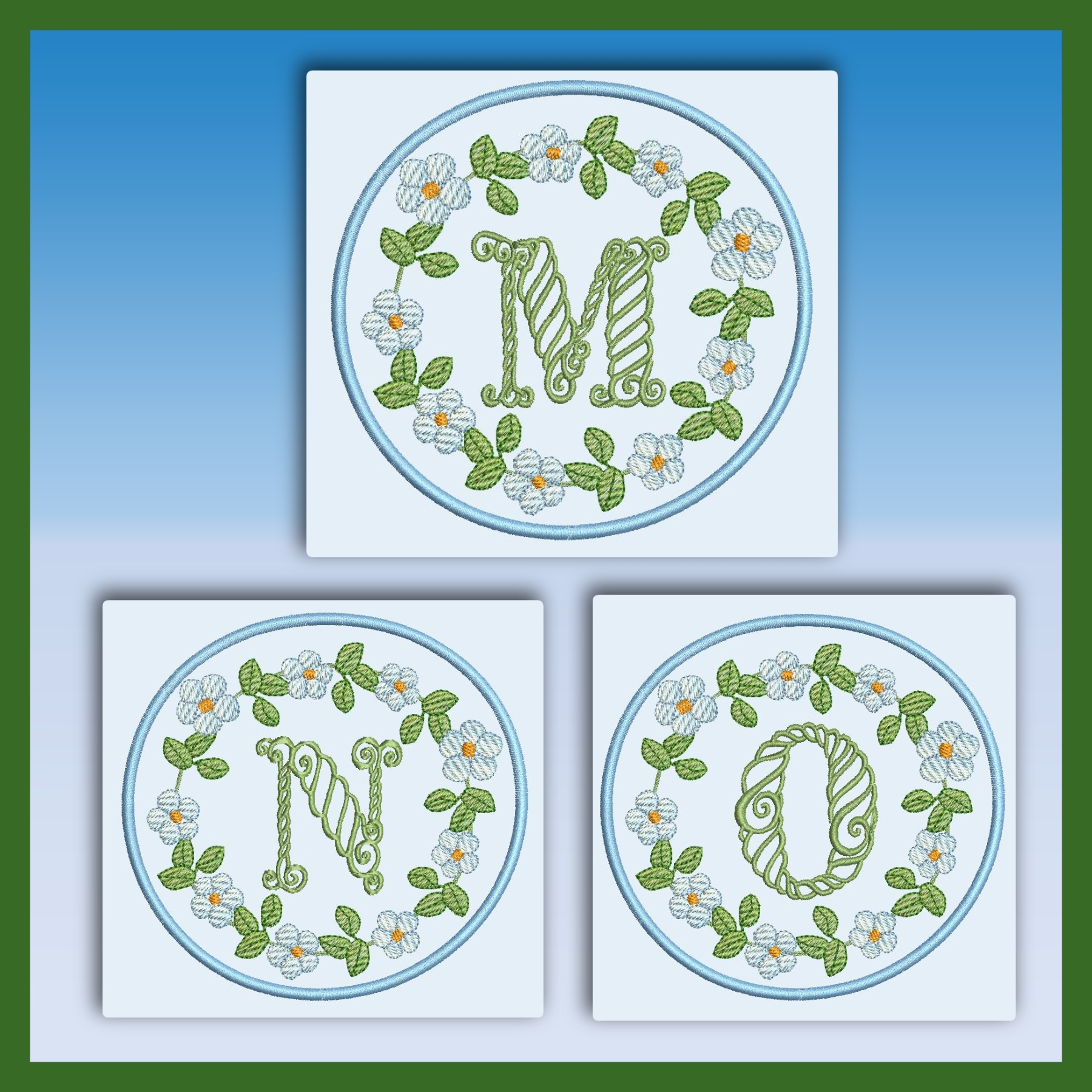 Blue And Green Monogram MNO