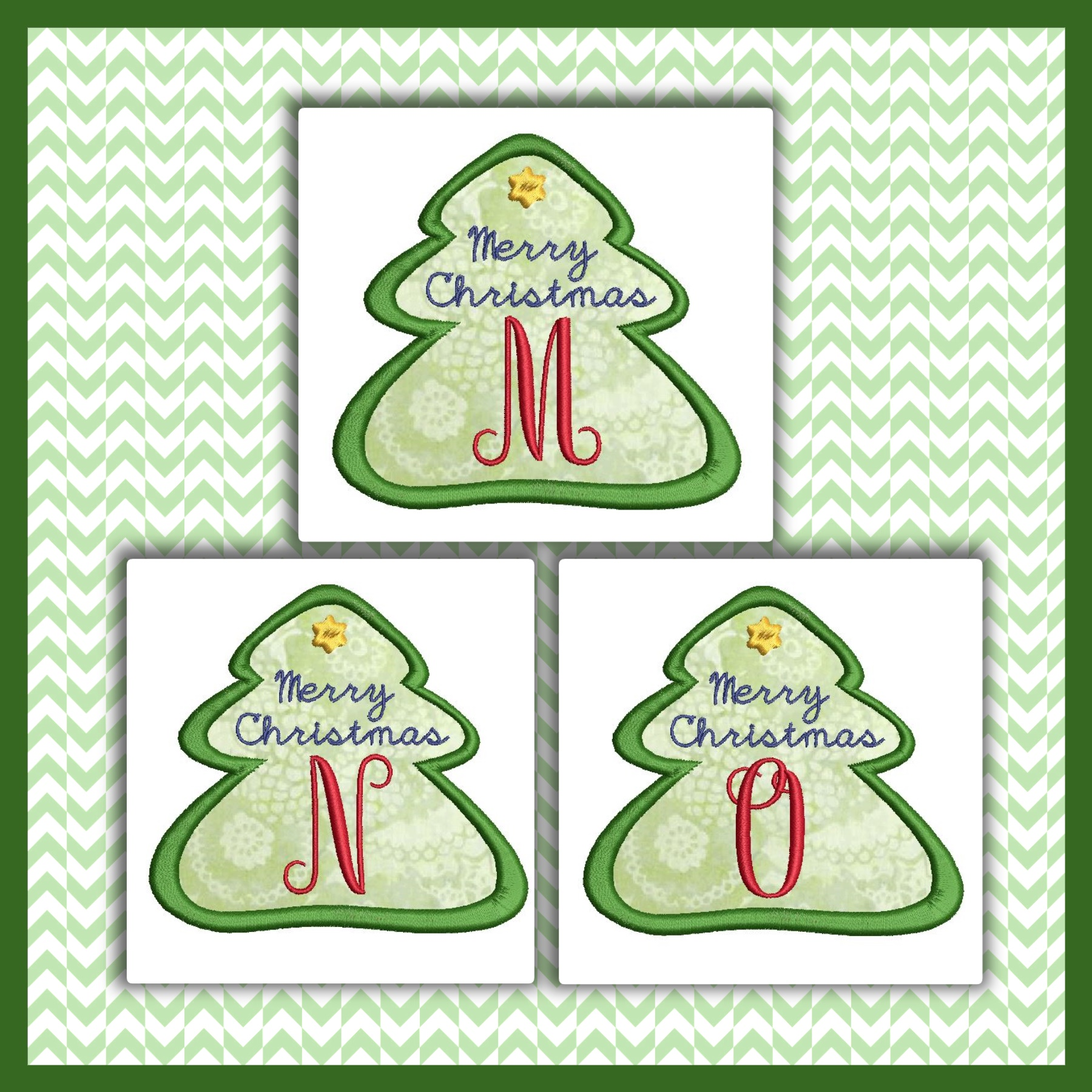 Holiday Tree Applique Font MNO