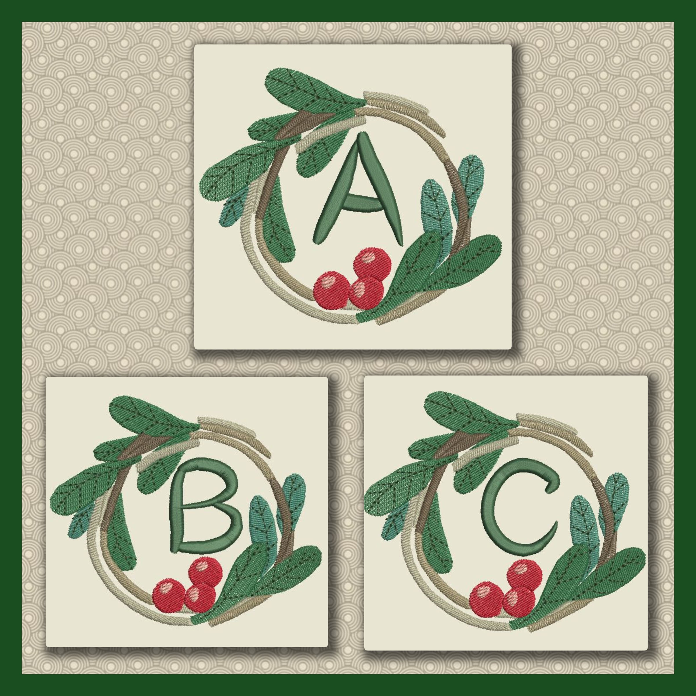 Holly Wreath Font ABC