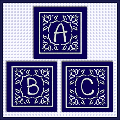 Blue And White Satin ABC