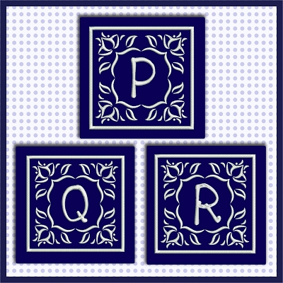 Blue And White Satin PQR
