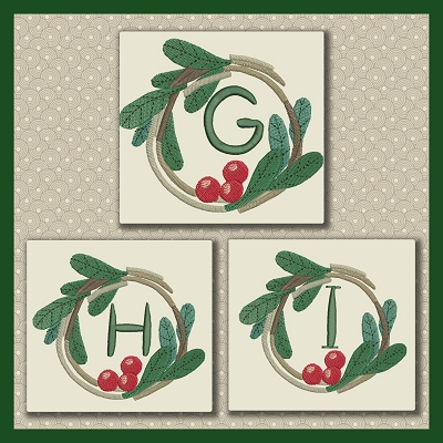 Holly Wreath Font GHI