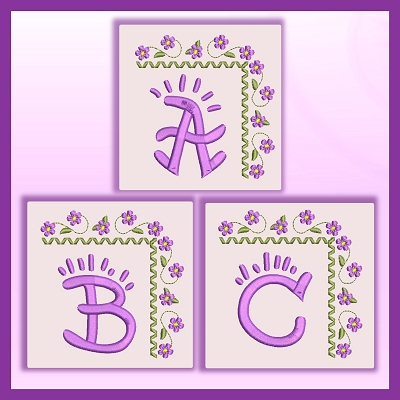 Purple Corner Flower Font ABC