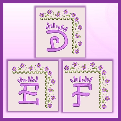 Purple Corner Flower Font DEF