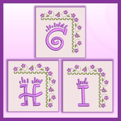 Purple Corner Flower Font GHI