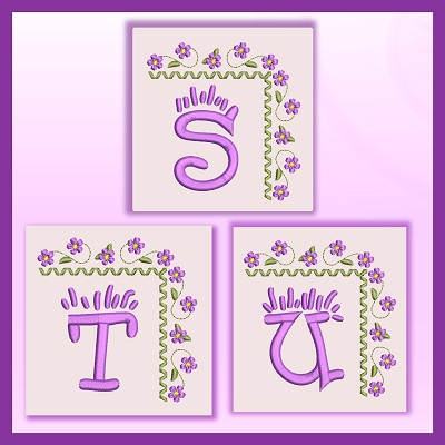 Purple Corner Flower Font STU