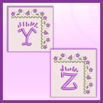 Purple Corner Flower Font YZ