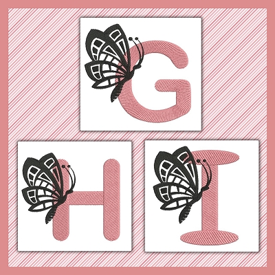 Pink And Black Butterfly Font GHI