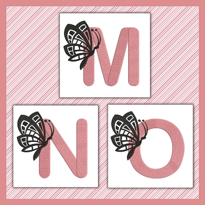 Pink And Black Butterfly Font MNO