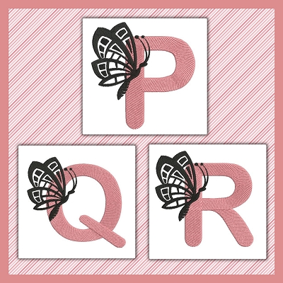 Pink And Black Butterfly Font PQR