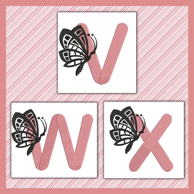 Pink And Black Butterfly Font VWX