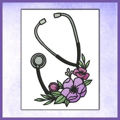 Stethoscope Flower Set With Font