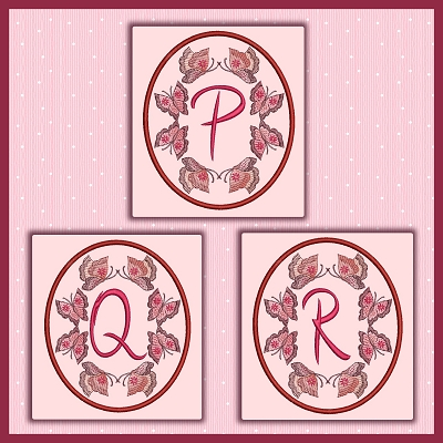 Butterfly Oval Font PQR