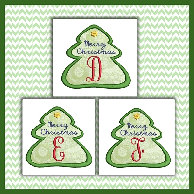 Holiday Tree Applique Font DEF