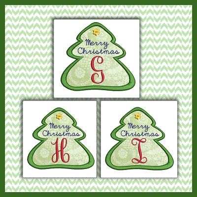 Holiday Tree Applique Font GHI