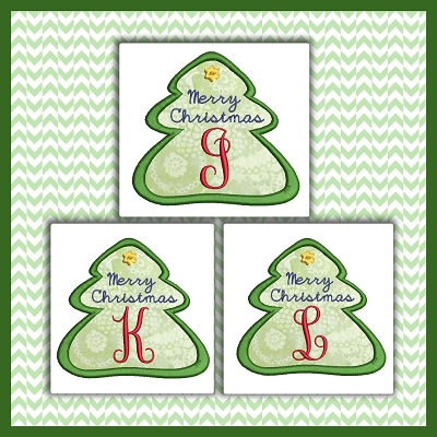 Holiday Tree Applique Font JKL