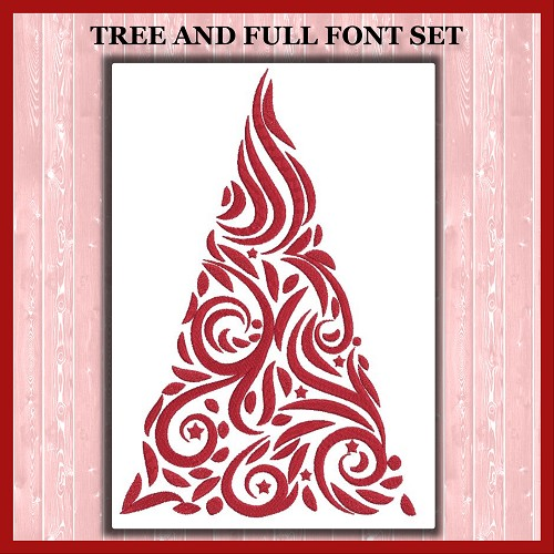 Red Calligraphy Tree Font Set