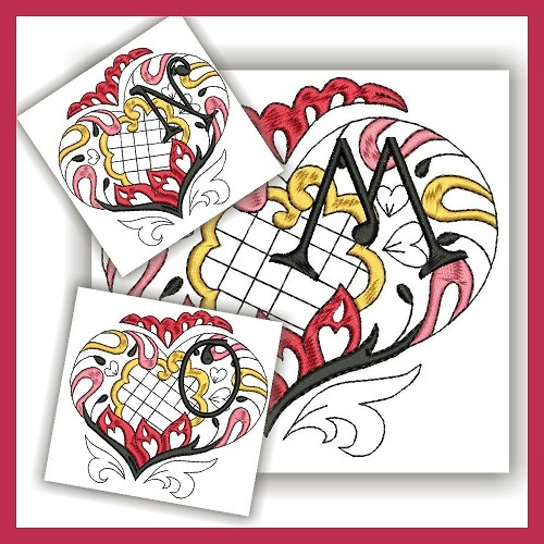 Channeled Heart Colored Monogram MNO
