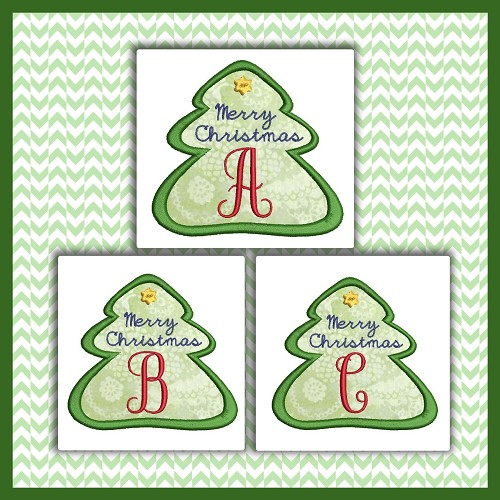 Holiday Tree Applique Font ABC
