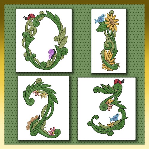 Leafy Floral Numbers Set