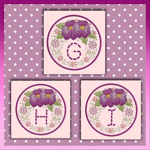 Pansy Stitch Font GHI