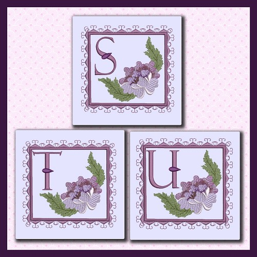Purple Flower Corner Font STU