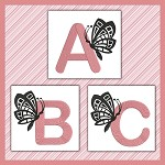 Pink And Black Butterfly Font ABC