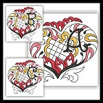 Channeled Heart Colored Monogram ABC