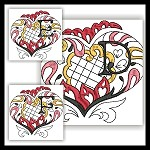 Channeled Heart Colored Monogram DEF