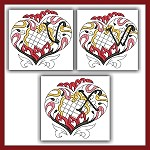 Channeled Heart Colored Monogram VWX