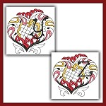 Channeled Heart Colored Monogram YZ